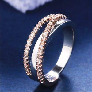 New 925 Silver Two Tone Diamond Beautiful Ring
